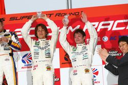 GT300 podium: third place Nobuteru Tanigichi and Ryo Orime