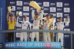 Podium: Andy Priaulx, BMW Team UK, Yvan Muller, Seat Sport, Rickard Rydell, Seat Sport and Felix Por