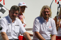 Ross Brawn Brawn Grand Prix Team Principal with Sir Richard Branson CEO of the Virgin Group makes and announcement regarding the Virgin sponsorship deal with Brawn GP