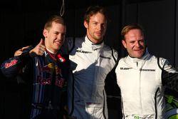 Le poleman Jenson Button, Brawn GP, seconde place pour Rubens Barrichello, troisième place pour Seba