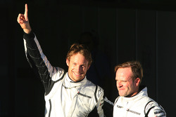 Le poleman Jenson Button, Brawn GP, et le deuxième Rubens Barrichello