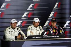 Conférence de presse d'après-qualification : le poleman Jenson Button, Brawn GP, le deuxième Rubens