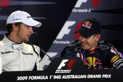 Conférence de presse d'après-qualification: le poleman Jenson Button, Brawn GP, le troisième Sebastian Vettel, Red Bull Racing