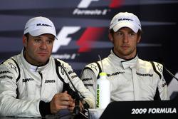 Conférence de presse d'après-qualification: le poleman Jenson Button, Brawn GP et le deuxième Ruben