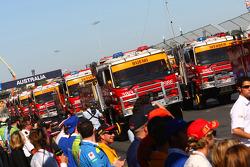 Les camions de la parade des pilotes