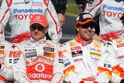 Heikki Kovalainen, McLaren Mercedes et Fernando Alonso, Renault F1 Team