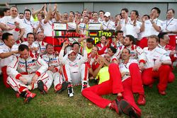 Toyota F1 Team celebrates podium finish of Jarno Trulli