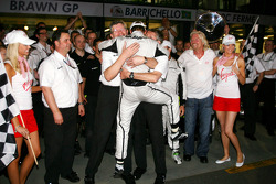 Ross Brawn, directeur général de Brawn GP, Jenson Button, Brawn GP et Sir Richard Branson, CEO du gr