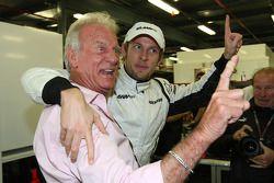 John Button father of Jenson Button, Brawn GP and Jenson Button, Brawn GP celebrate the win