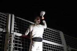 Rubens Barrichello, Brawn GP celebrates his podium