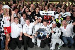 Ross Brawn Team Principal, Brawn GP, Jenson Button, Brawn GP, Rubens Barrichello, Brawn GP, Nick Fry