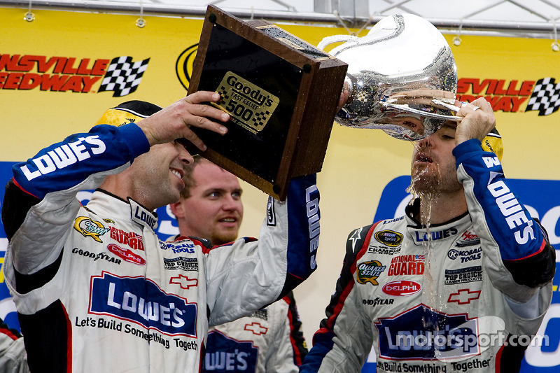 Victory lane: race winner Jimmie Johnson, Hendrick Motorsports Chevrolet, celebrates with crew chief Chad Knaus