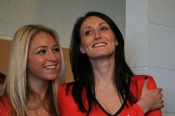 Sam and Sarah, the Avon Tyres/Cooper Tires grid girls are amused