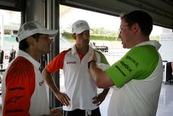 Giancarlo Fisichella Force India F1 with Vitantonio Liuzzi Force India F1 Third Driver and Jody Eggi