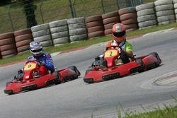 F1 Fun Kart Challenge: Vitantonio Liuzzi, Force India and Edoardo Mortara