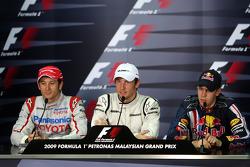 Пресс-конференция FIA: обладатель поула - Дженсон Баттон, Brawn GP, третье место - Себастьян Феттель