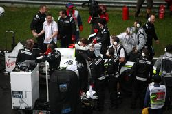 Jenson Button, Brawn GP, celebrates winning on the reformed grid, after te race is red flag due to r