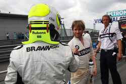Rubens Barrichello, Brawn GP ve Nick Heidfeld, BMW Sauber F1 Team