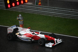 Jarno Trulli, Toyota Racing, reformed grid, after race was red flagged due to rain