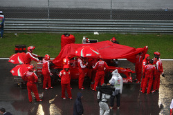 Felipe Massa, Scuderia Ferrari, Race stopped due to rain and the cars form up on the grid