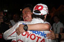 Toyota F1 celebrations: Tadashi Yamashina, Chairman and Team Principal, Timo Glock, Toyota F1 Team