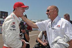 Pole winner Graham Rahal, Newman/Haas/Lanigan Racing, celebrates with his dad Bobby