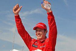 Race winner Ryan Briscoe, Team Penske, celebrates