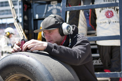 Robby Gordon Motorsports Dodge crew member at work