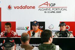 Filipe Albuquerque, driver of A1 Team Portugal, Robert Doornbos, driver of A1 Team Netherlands and E
