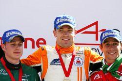 Second place Adam Carroll, driver of A1 Team Ireland, race winner Robert Doornbos, driver of A1 Team Netherlands, third place Filipe Albuquerque, driver of A1 Team Portugal