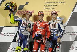 Podium: Sieger Casey Stoner mit Valentino Rossi und Jorge Lorenzo