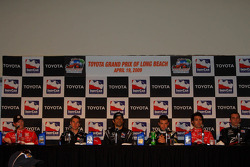 Post-qualifying press conference: Scott Dixon, Target Chip Ganassi Racing, pole winner Will Power, Team Penske, Raphael Matos, Luczo Dragon Racing, Ernesto Viso, HVM Racing, Dario Franchitti, Target Chip Ganassi Racing and Justin Wilson, Dale Coyne Racing