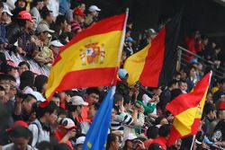 Fans on the grandstand, flags