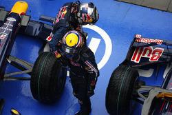 Race winner Sebastian Vettel, Red Bull Racing, celebrates with Mark Webber, Red Bull Racing