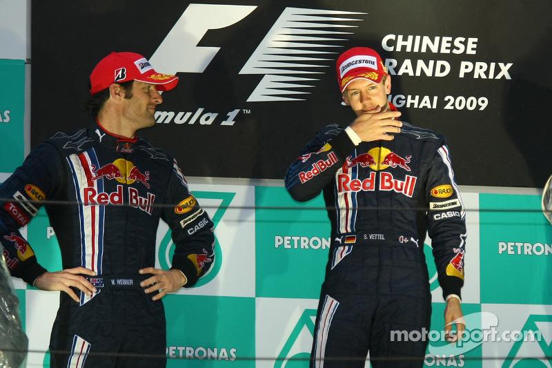 Pódio: Mark Webber e Sebastian Vettel