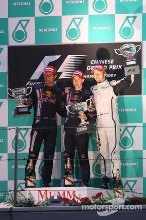 Podium: race winner Sebastian Vettel, Red Bull Racing, second place Mark Webber, Red Bull Racing, th