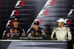 FIA press conference: race winner Sebastian Vettel, Red Bull Racing, second place Mark Webber, Red B