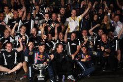 Race winner Sebastian Vettel, Red Bull Racing celebrates with Mark Webber, Red Bull Racing and Red B
