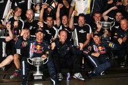 Race winner Sebastian Vettel, Red Bull Racing celebrates with Mark Webber, Red Bull Racing and Red B