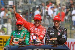 Race winner Dario Franchitti, Target Chip Ganassi Racing, second place Will Power, Team Penske, thir