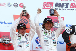 GT300 podium: second place Nobuteru Tanigichi and Ryo Orime