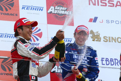 GT500 podium: champagne celebrations