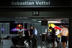 The pitlane at night, the garage of Sebastian Vettel, Red Bull Racing