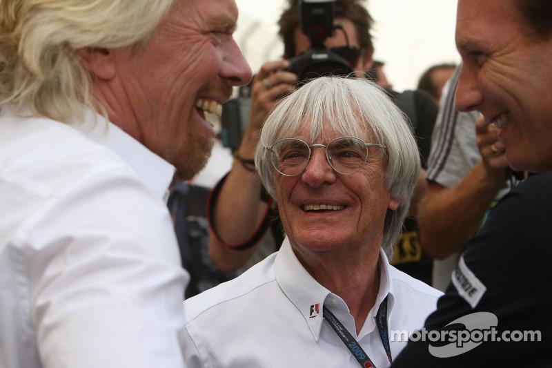 Christian Horner, directeur général de Red Bull Racing, Sir Richard Branson, CEO du Virgin Group et Bernie Ecclestone, CEO de la Formula One Management