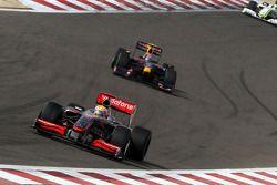 Lewis Hamilton, McLaren Mercedes leads Sebastian Vettel, Red Bull Racing