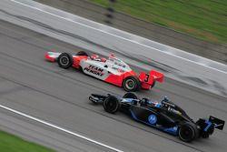 Danica Patrick, Andretti Green Racing passing Helio Castroneves, Penske Racing