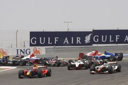 Luiz Razia leads the field through turn 1 on the opening lap of the race