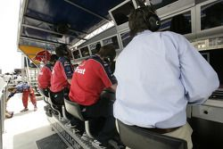 Team Arden watch the action from the pit wall