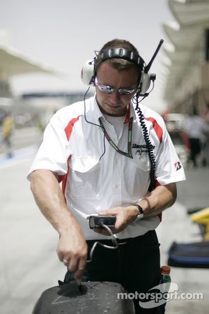 A Bridgestone tyre engineer at work