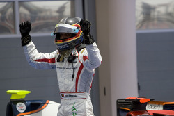 Jerome D'Ambrosio celebrates gaining second position in the GP2 Asia championship